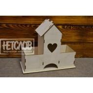Чайный домик с сердечком и двумя карманами