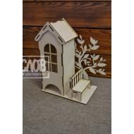 Чайный домик с деревом и скамейкой