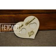 Сердце-тарелочка для колец двухслойное с гравировкой